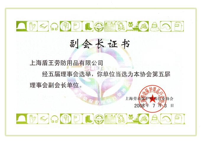 2008年盛世国际客户端下载上海劳动保护用品协会的第五届理事会副会长单位证书